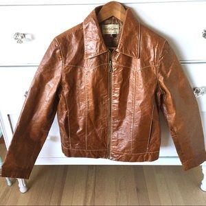 Wilsons Leather shiny brown zip up jacket - medium
